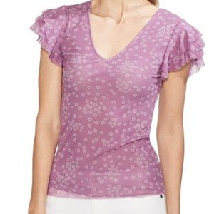 Vince Camuto Purple Floral Ruffle Sleeve Vneck Top